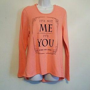 EUC Electric Pink sz L hooded/saying sweatshirt